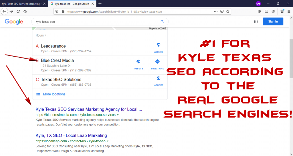 kyle texas seo rankings